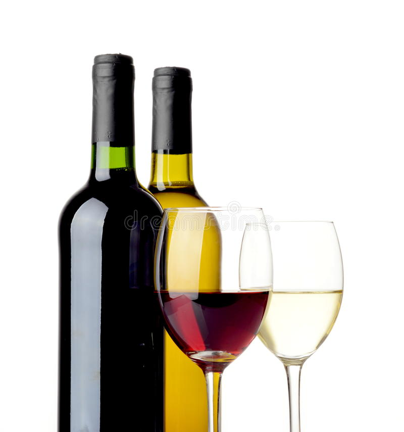 Vino blanco rojo y aislado en blanco imagen de archivo