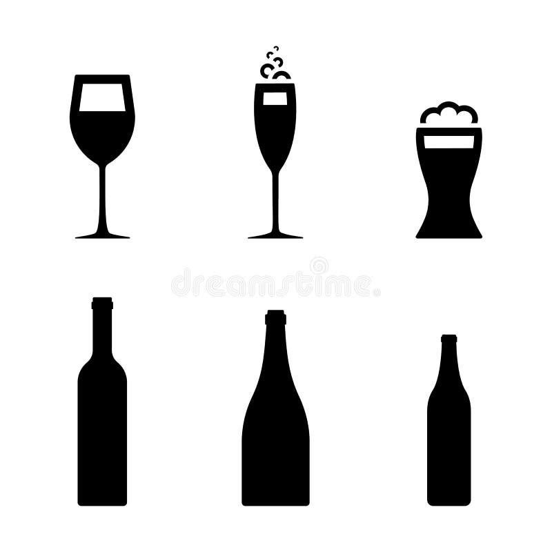 Vino, cerveza, sistema de cristal del icono del champán Botella de pictograma negro del símbolo de diversas bebidas stock de ilustración