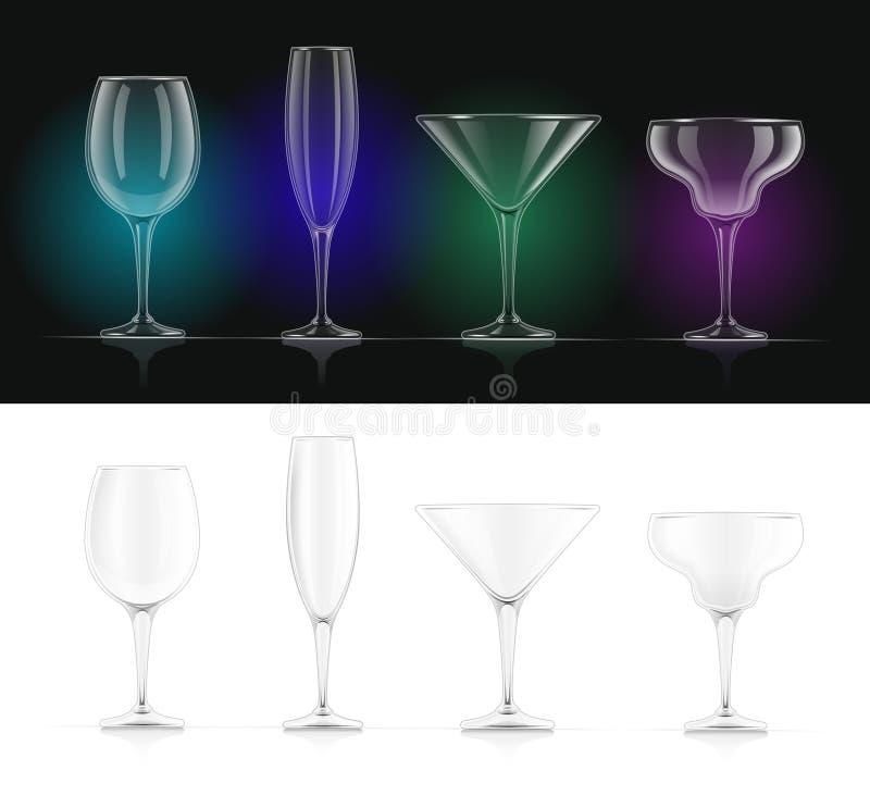Vino, champán, martini, vidrios de cóctel del margarita ilustración del vector