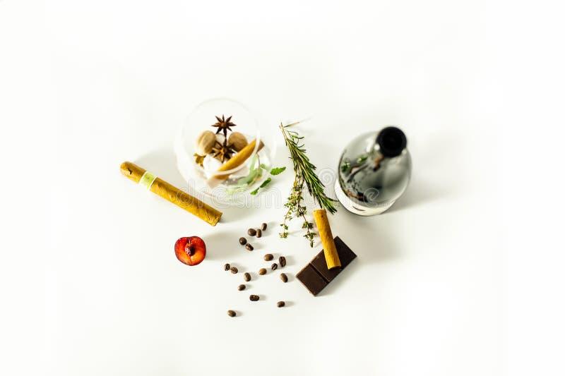 Vino, cigarros, romero, menta, canela, granos de café y ciruelo en un vidrio para el vino imagen de archivo libre de regalías