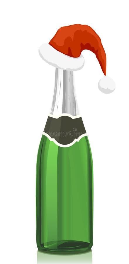 Vino de Champán y sombrero de Papá Noel ilustración del vector