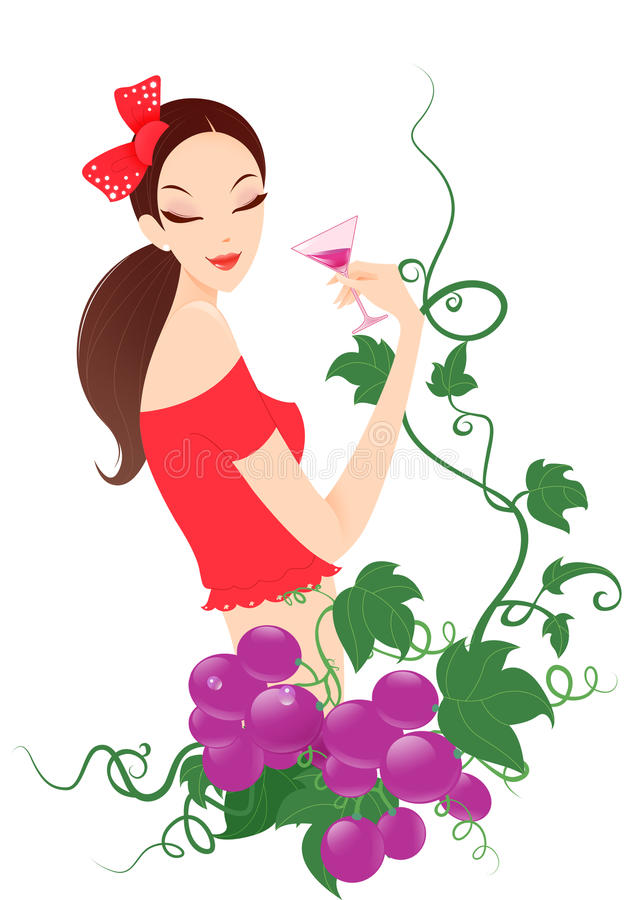Vino de consumición de la muchacha con la uva ilustración del vector