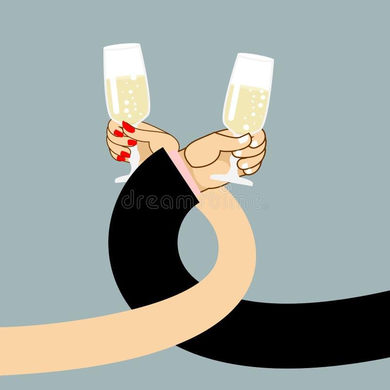 Vino de la bebida del hombre y de la mujer Mano para hombre y un vidrio de champán stock de ilustración