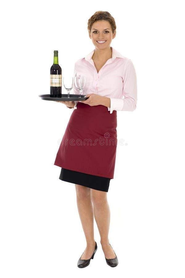 Vino del servizio della cameriera di bar fotografia stock libera da diritti