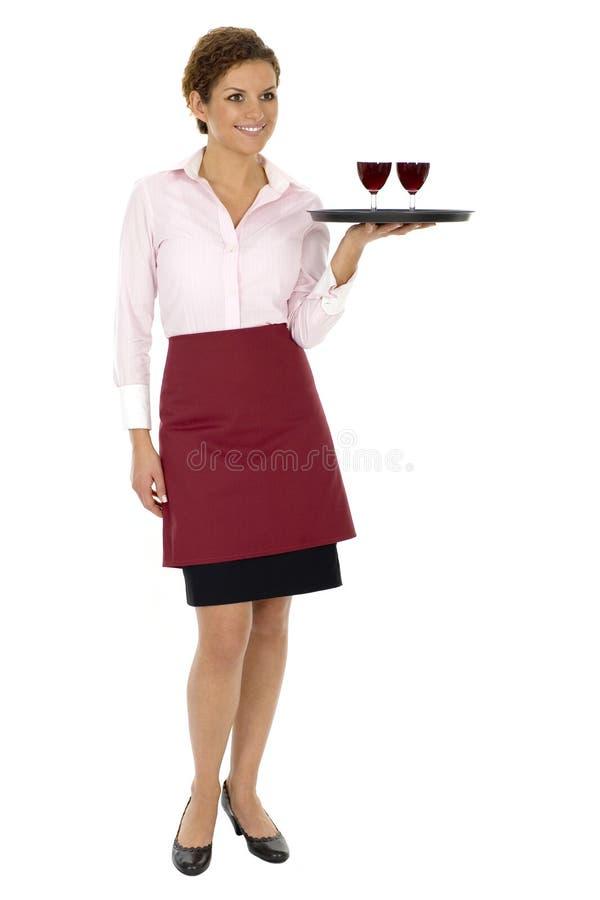 Vino del servizio della cameriera di bar immagine stock libera da diritti