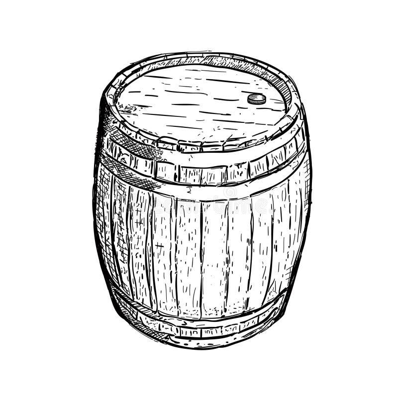 Vino della birra del barilotto dell'incisione illustrazione di stock