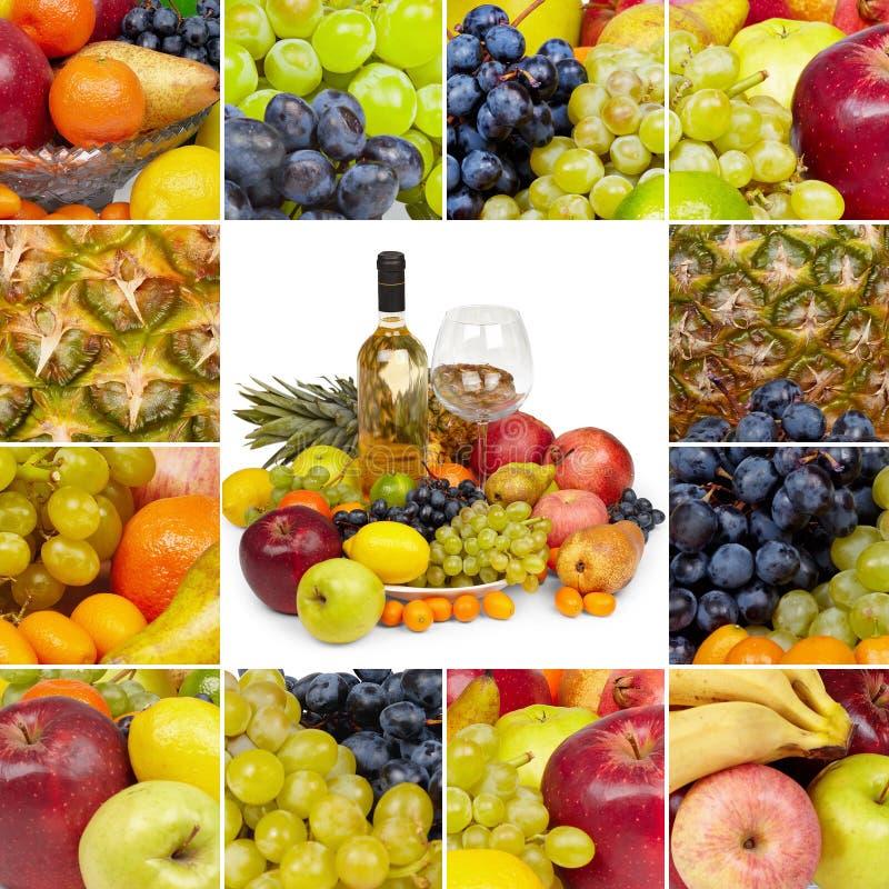 Vino e frutta tropicale - collage quadrato immagini stock libere da diritti