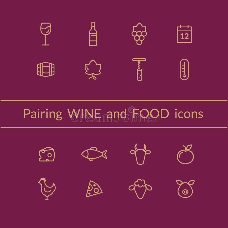 Vino ed alimento che accoppiano le icone royalty illustrazione gratis