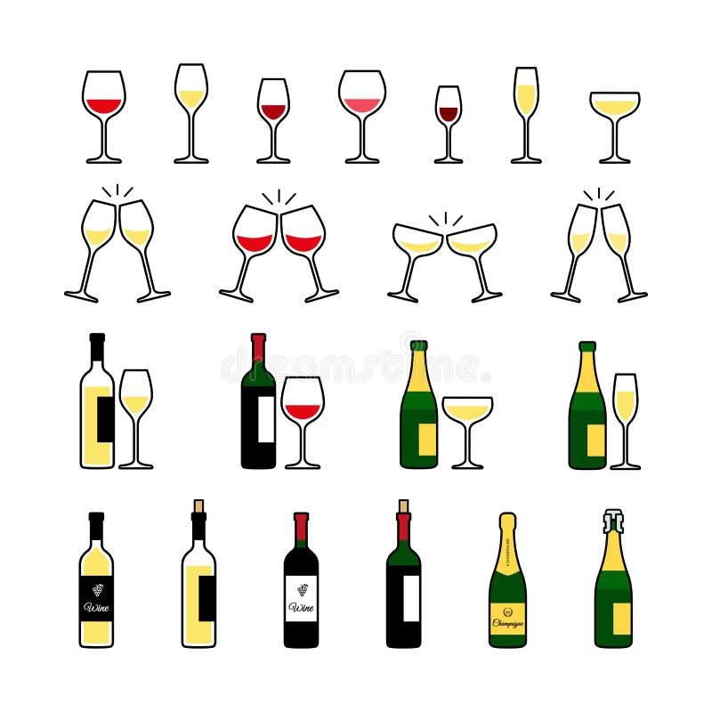 Vino ed icone delle bottiglie e di vetro del champagne messe illustrazione di stock