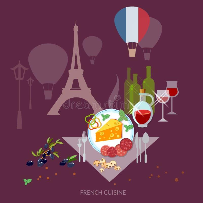 Vino francés francés y queso de la comida de Francia de la cocina y de la cultura libre illustration