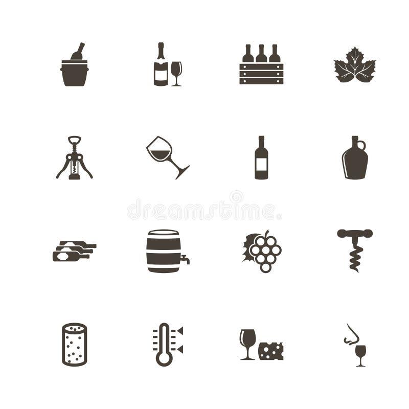Vino - iconos planos del vector fotos de archivo libres de regalías