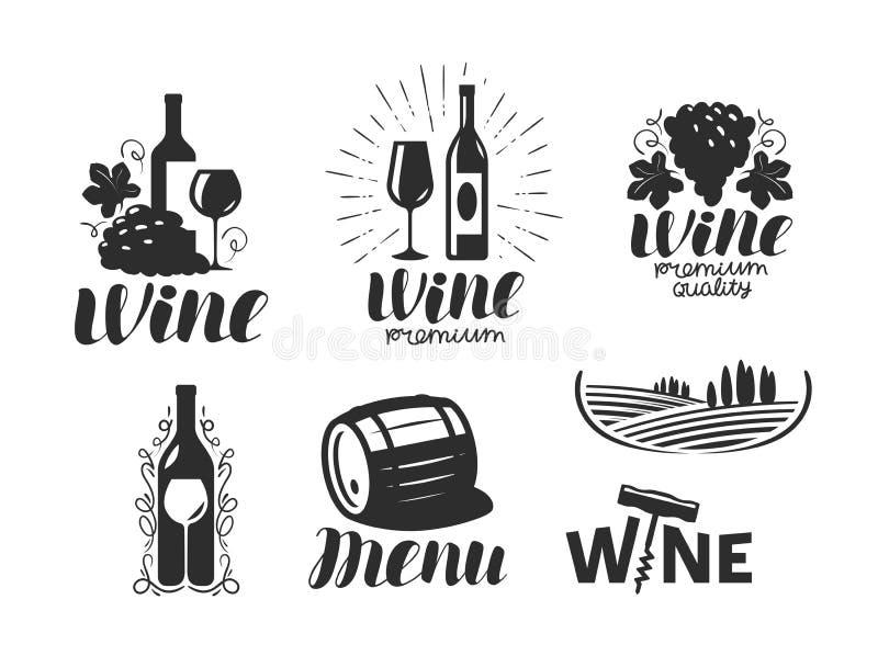 Vino, logo della cantina Bevanda, simbolo della bevanda alcolica o icona Illustrazione di vettore dell'iscrizione illustrazione vettoriale