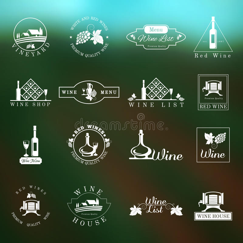 Vino Logo Set royalty illustrazione gratis