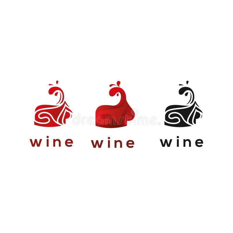 Vino Logo Template ornamentale liquido immagine stock libera da diritti