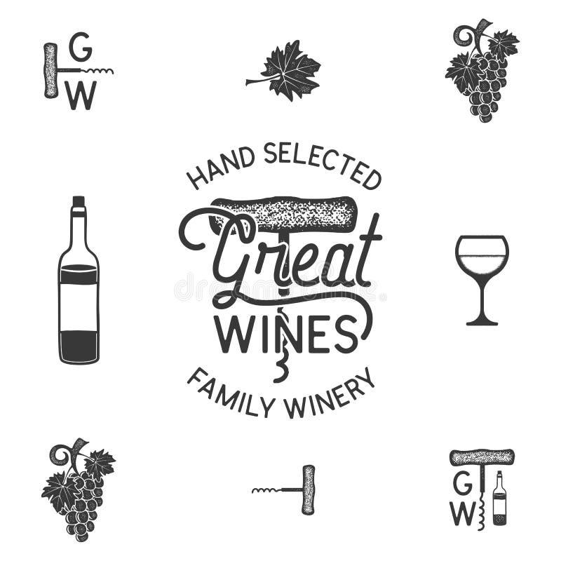 Vino, logotipo e iconos, elementos del lagar Bebida, símbolo de la bebida alcohólica, monograma Botella de vino, vidrio, uva, hoj ilustración del vector