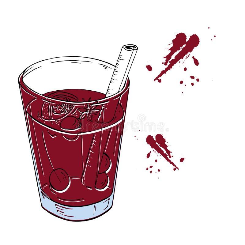 Vino reflexionado sobre rojo Bosquejo dibujado mano del vector stock de ilustración