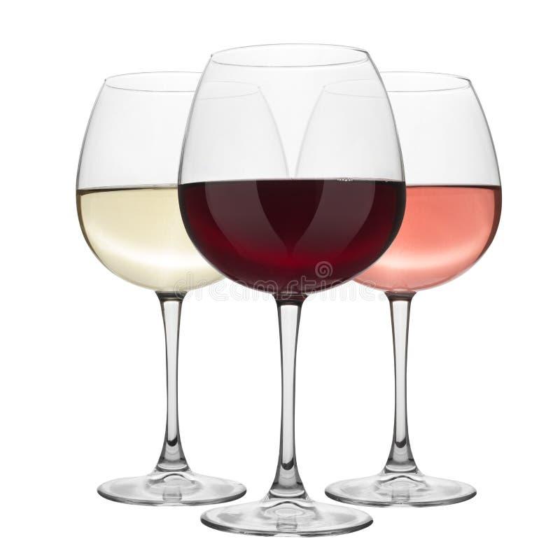 Vino rojo, blanco y color de rosa de los vidrios foto de archivo