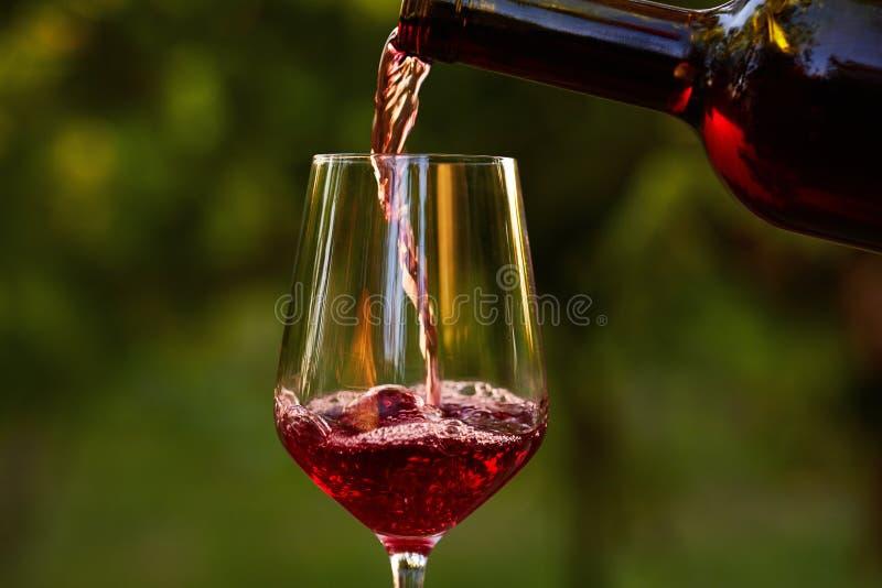 Vino rojo de colada en el vidrio foto de archivo libre de regalías