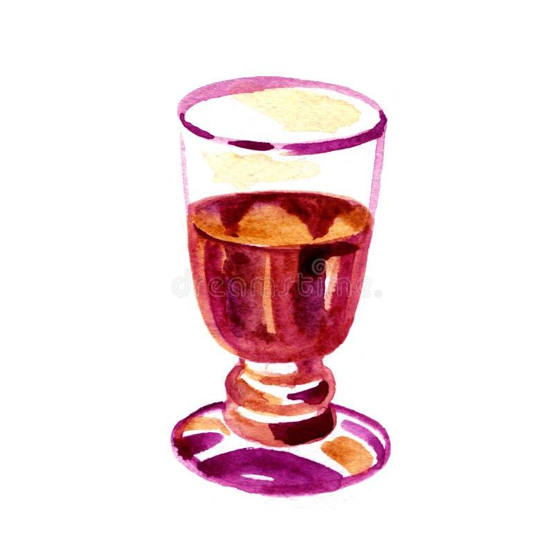 Vino rojo en un vidrio aislado en el fondo blanco Ejemplo dibujado mano de la acuarela libre illustration