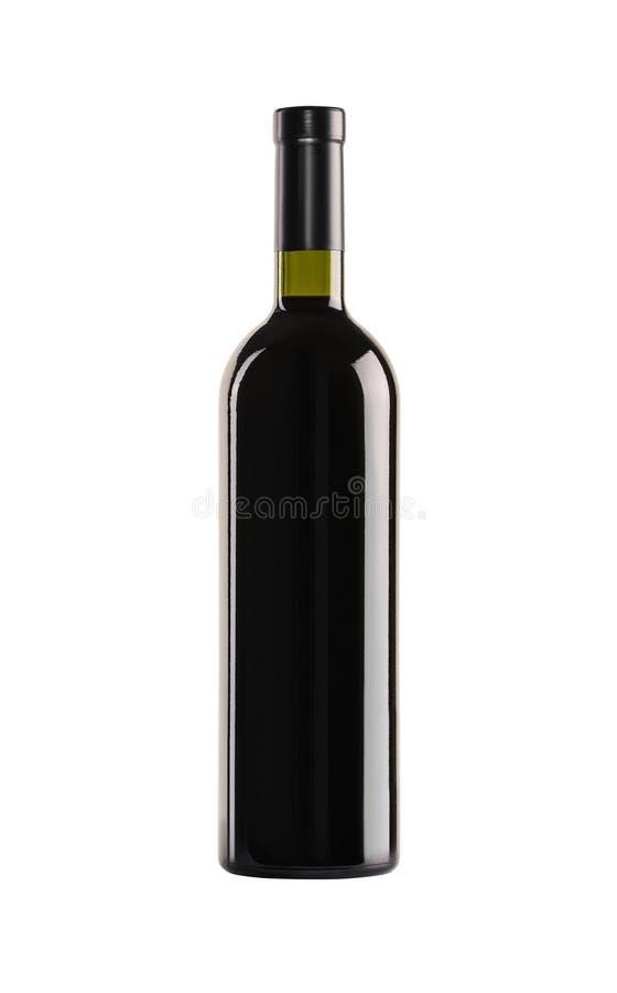 Vino rosso Bottiglia di vetro verde immagine stock