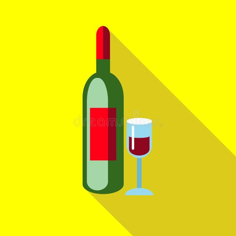 Vino rosso dell'elite con l'icona di vetro, stile piano royalty illustrazione gratis