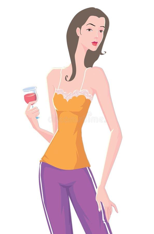 Download Vino Rosso Della Bella Bevanda Della Donna Illustrazione di Stock - Illustrazione di informale, gulp: 7300796