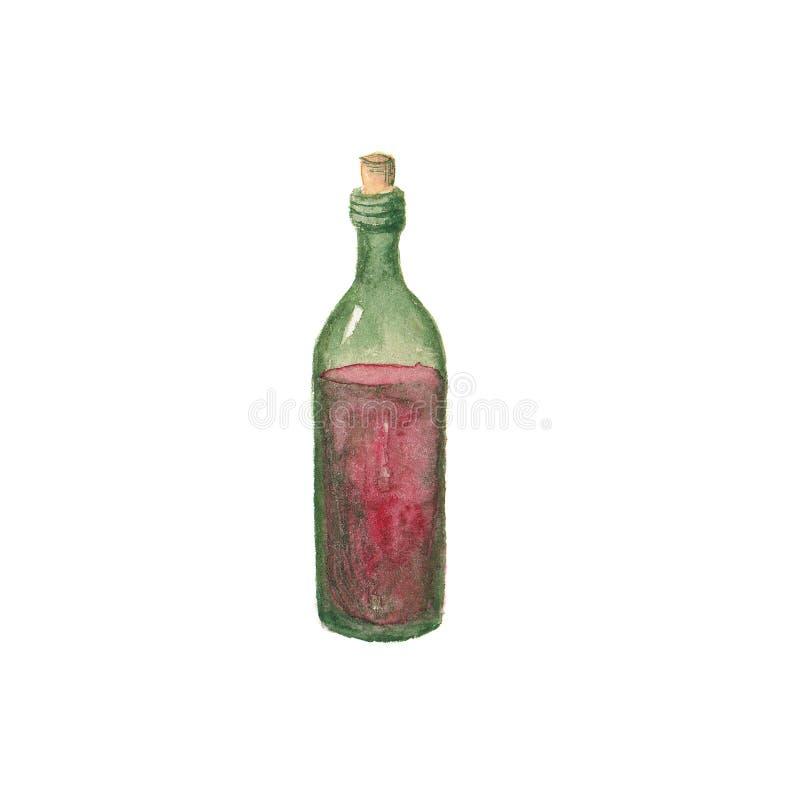 Vino rosso della bottiglia dell'acquerello isolato su fondo bianco, acquerello del disegno della mano royalty illustrazione gratis