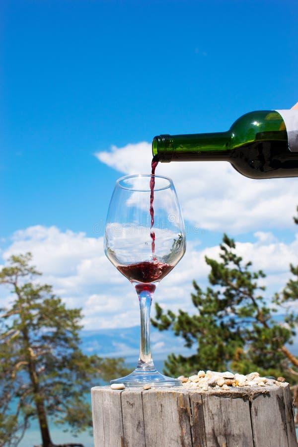 Vino rosso di versamento in vetro sui precedenti della natura fotografia stock