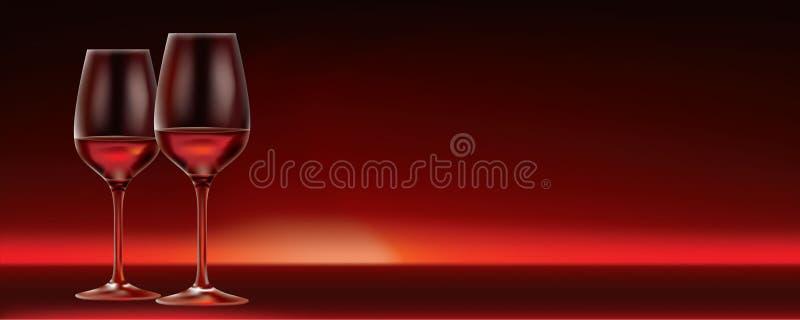 Vino rosso di vettore per due illustrazione vettoriale