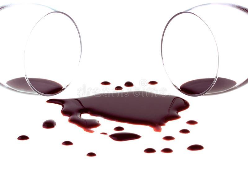 Vino rosso rovesciato fotografia stock libera da diritti