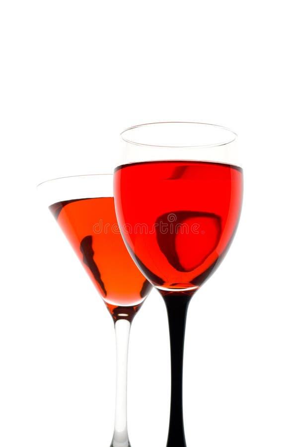 Vino rosso su vetro immagine stock