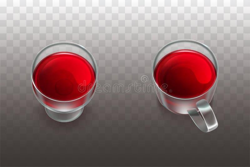 Vino rosso, tè della frutta nel vettore realistico della cristalleria illustrazione di stock