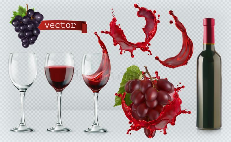 Vino rosso Vetri, bottiglia, spruzzata, uva Insieme realistico dell'icona di vettore illustrazione di stock