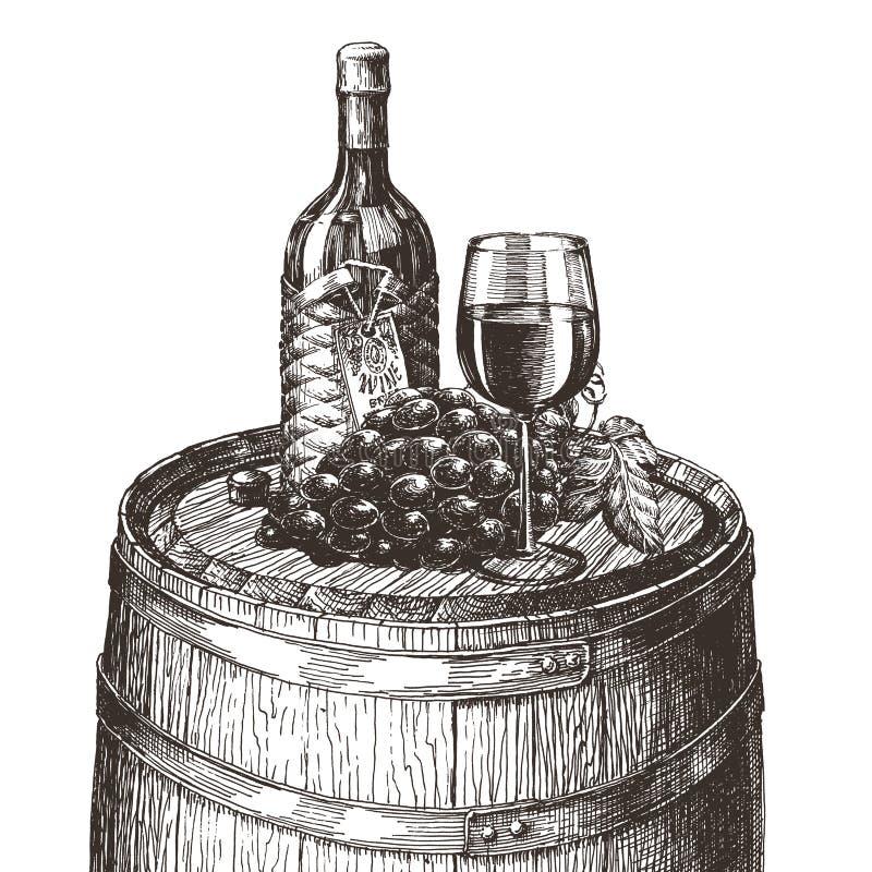 vino su un fondo bianco abbozzo illustrazione di stock