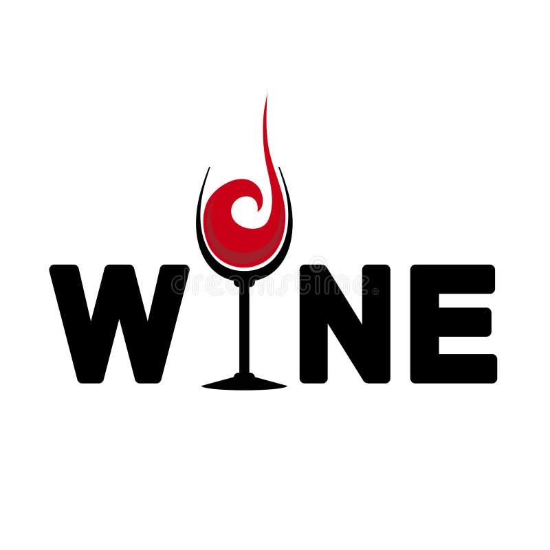 Vino Typoghape Logo Lettering con el rojo de cristal del diseño del vino plano ilustración del vector