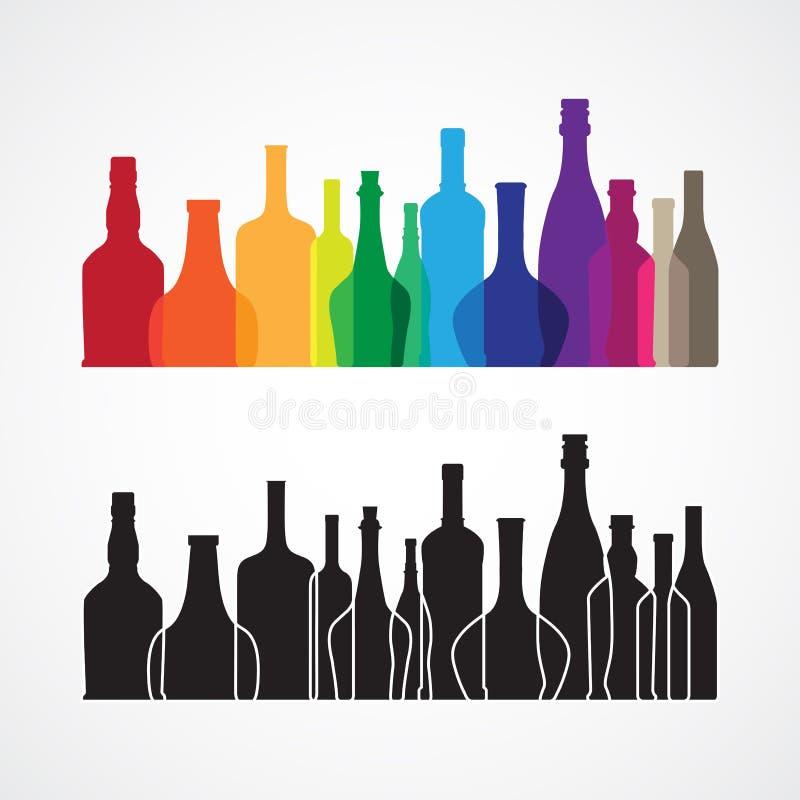 Vino variopinto di vettore e bottiglia di whiskey illustrazione di stock