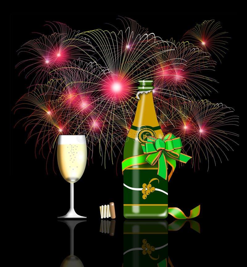 Vino y fuegos artificiales del Año Nuevo ilustración del vector