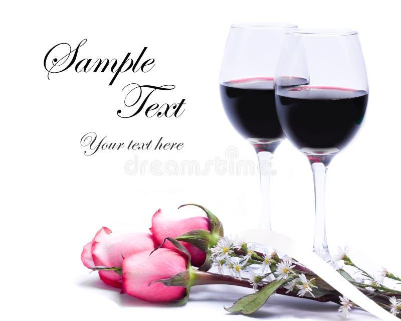 Vino y rosas stock de ilustración