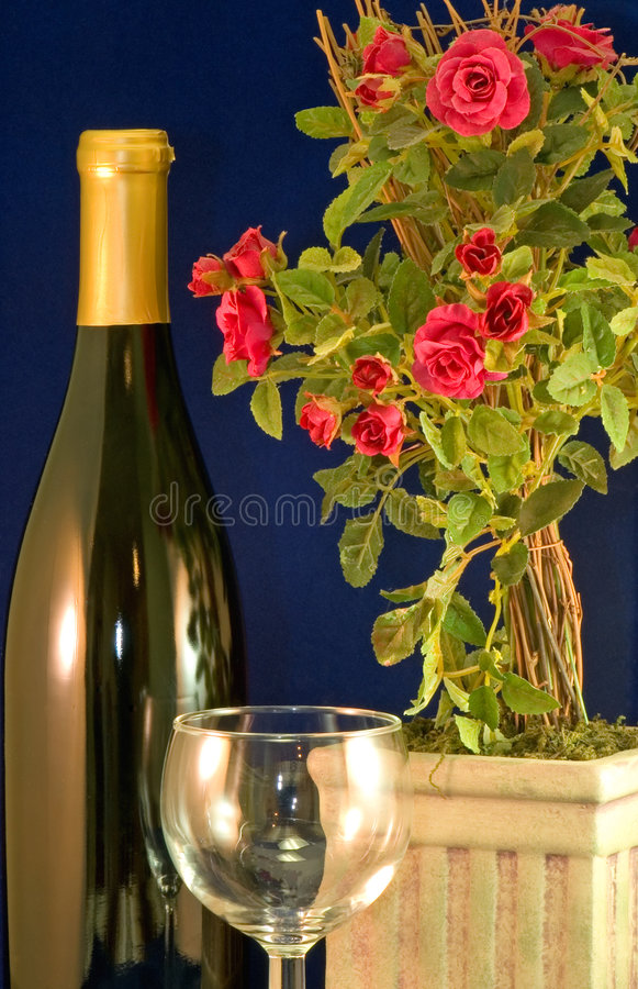 Vino y rosas imagen de archivo libre de regalías