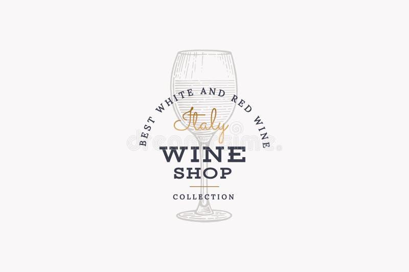 Vinos de Italia Vector el logotipo de la tienda de vino con el vidrio de la imagen de vino en fondo ligero libre illustration