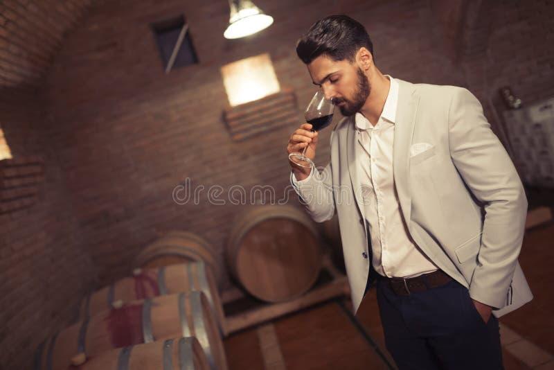 Vinos de la prueba del fabricante del vino imágenes de archivo libres de regalías