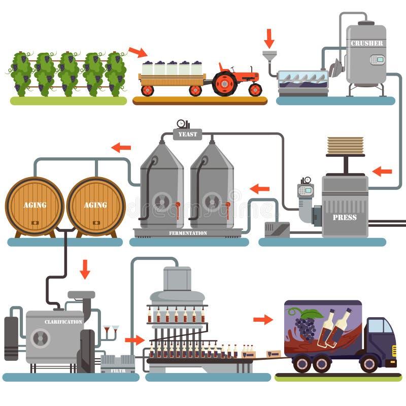 Vinproduktionsprocess, produktiondryck från illustrationer för druvalägenhetvektor vektor illustrationer