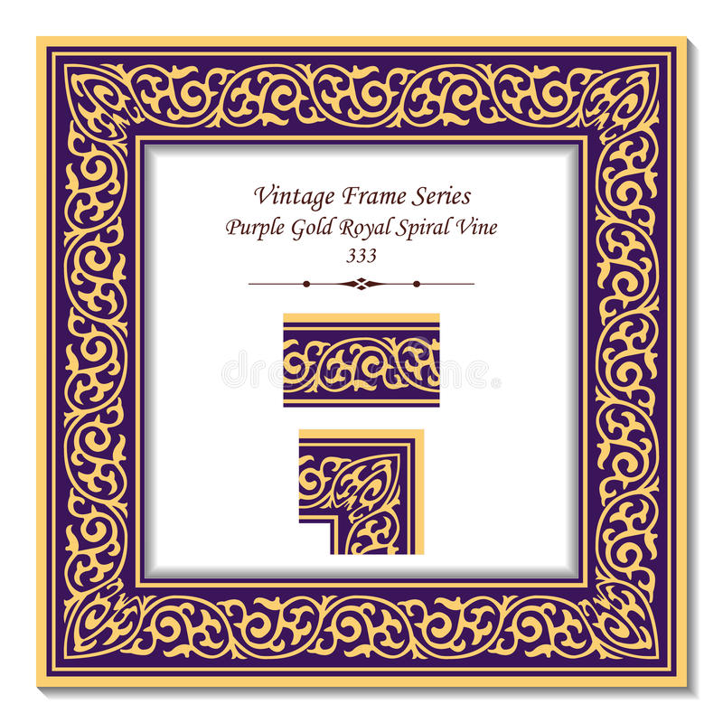 Vinranka för spiral för kunglig person för lilor för ram 333 för tappning 3D guld- stock illustrationer
