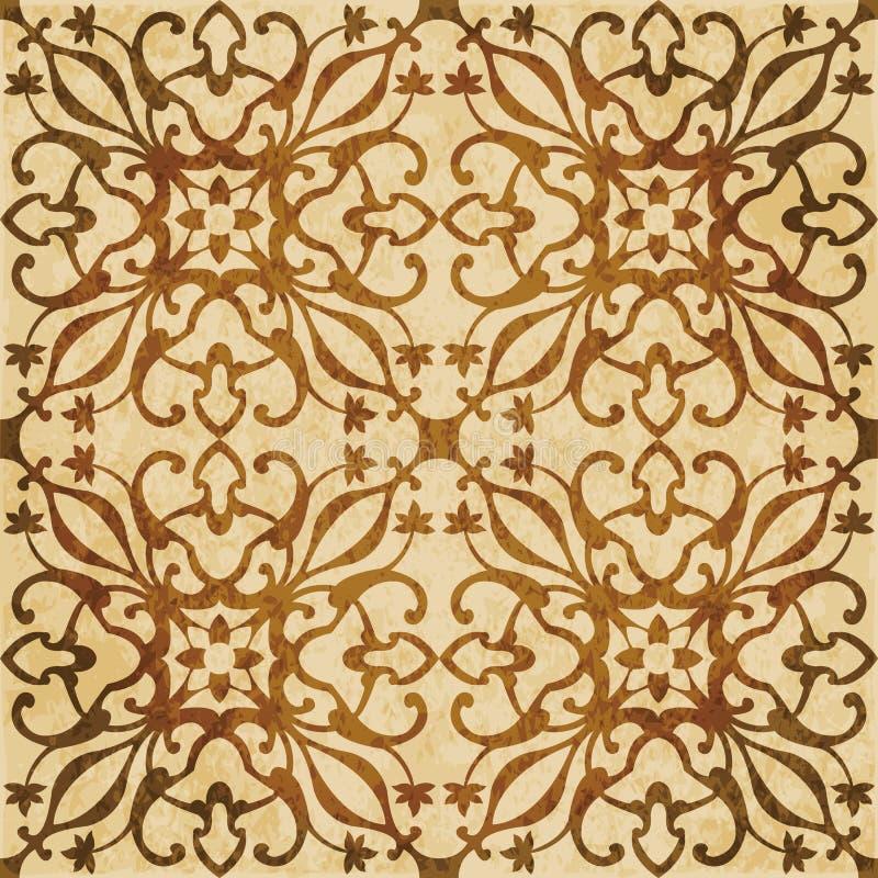 Vinranka s för bakgrund för Retro brun vattenfärgtexturgrunge sömlös vektor illustrationer