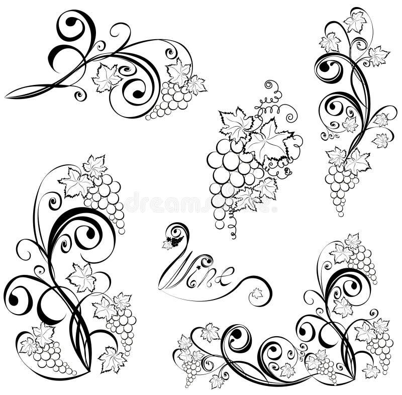 Vinranka. Winedesignbeståndsdelar. vektor illustrationer
