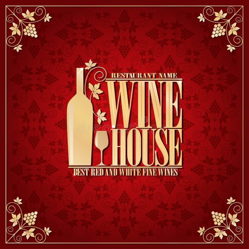 Vins fins rouges de maison de vin les meilleurs et blancs, cadre d'or illustration de vecteur