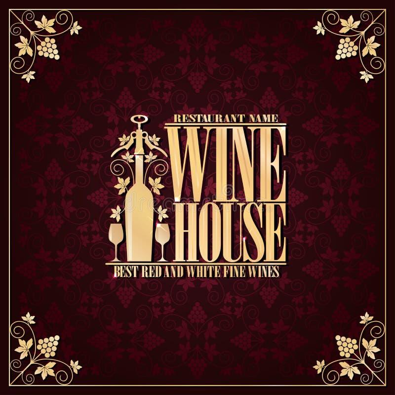 Vins fins rouges et blancs de meilleur de maison de vin de menu de cru illustration libre de droits