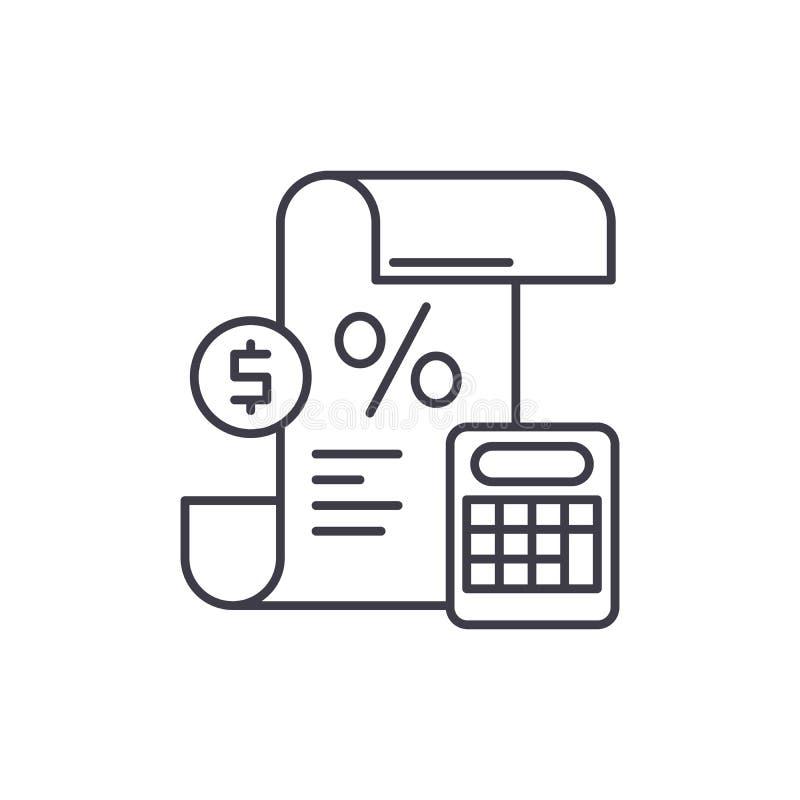 Vinst- och förlustmeddelandelinje symbolsbegrepp Linjär illustration för vinst- och förlustmeddelandevektor, symbol, tecken royaltyfri illustrationer