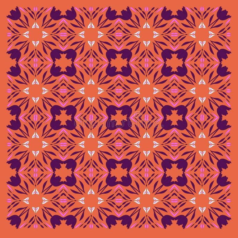 VINT exótico luxuoso Mandalas alaranjadas -- vint arte roxa ilustração do vetor