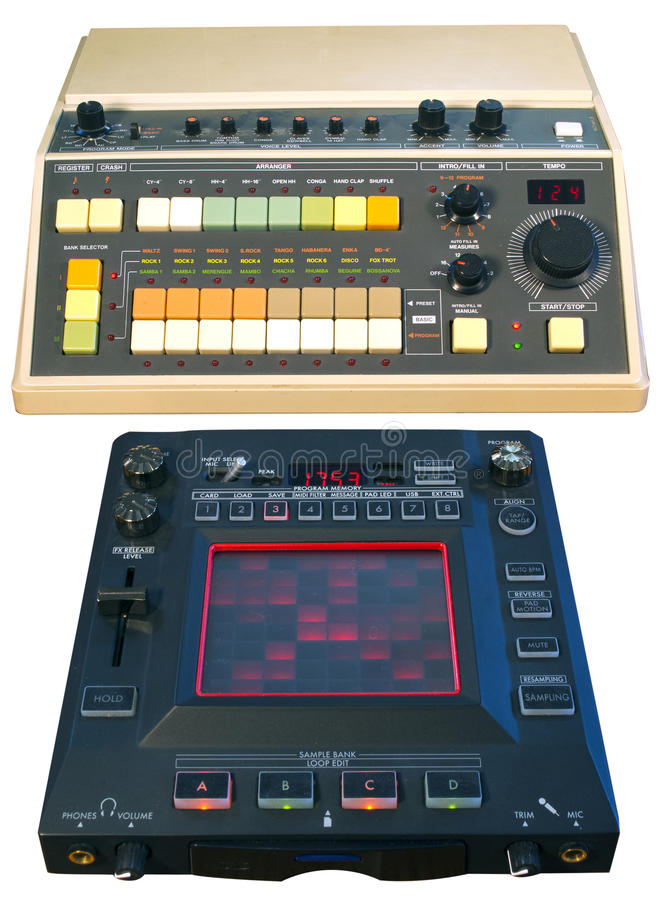 Vintaage analog drum machine & Digital FX processor stock images